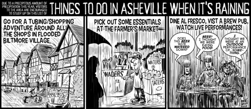 """""""Things to Do in AVL in the Rain"""" cartoon ©2018 - Brent Brown"""