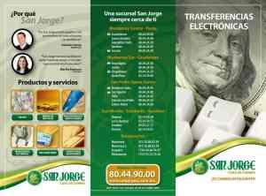 folleto tipo tríptico, San Jorge Casa de Cambio