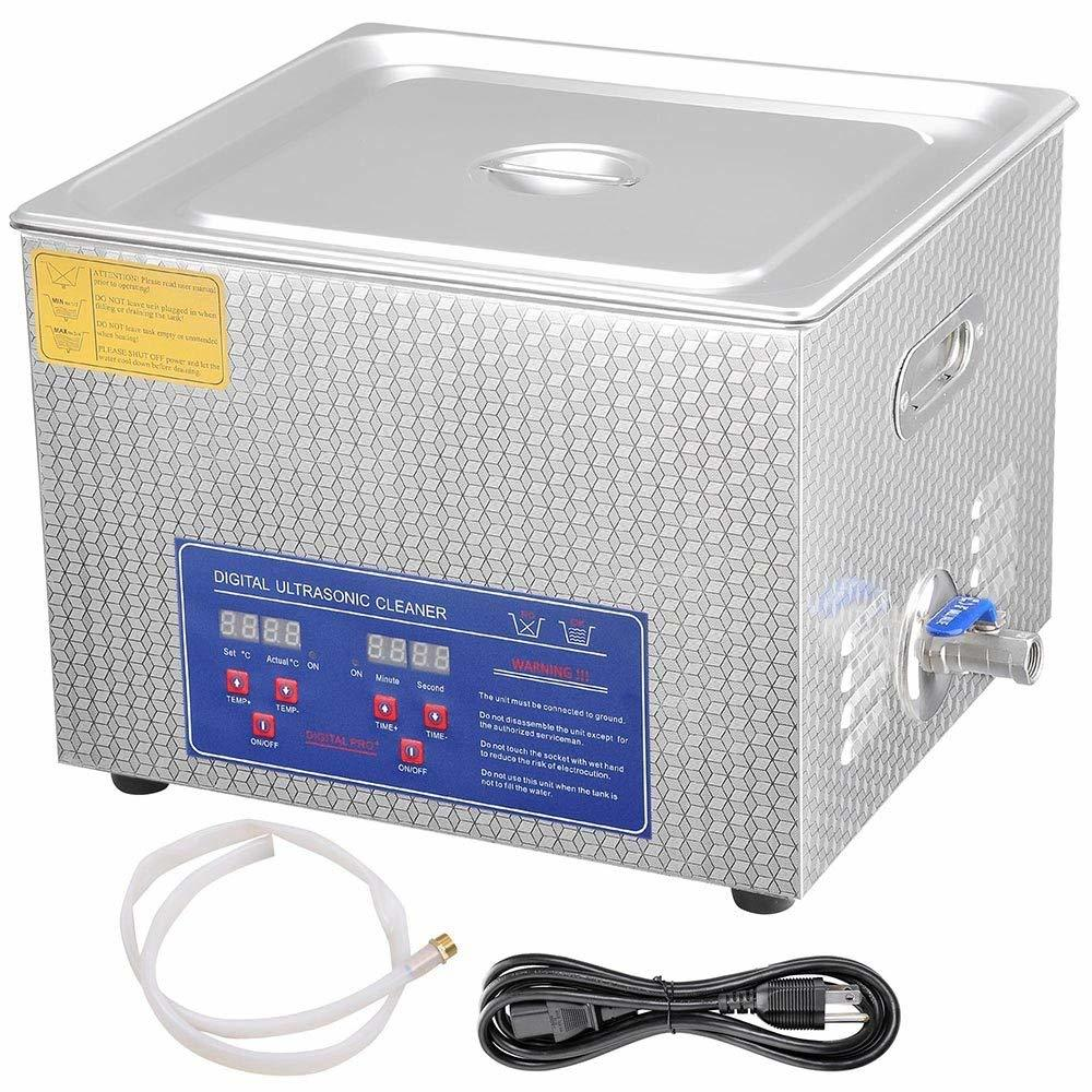 AW Pro Stainless Steel 15 L Liters 760W Ultrasonic Cleaner with Digital Heater Timer 6 Sets Transducers