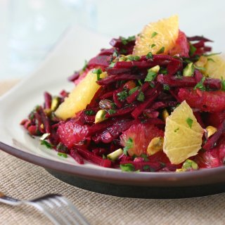 This recipe for Raw Beet Salad with oranges and pistachios has a sweet, earthy flavor and a toothy chew.