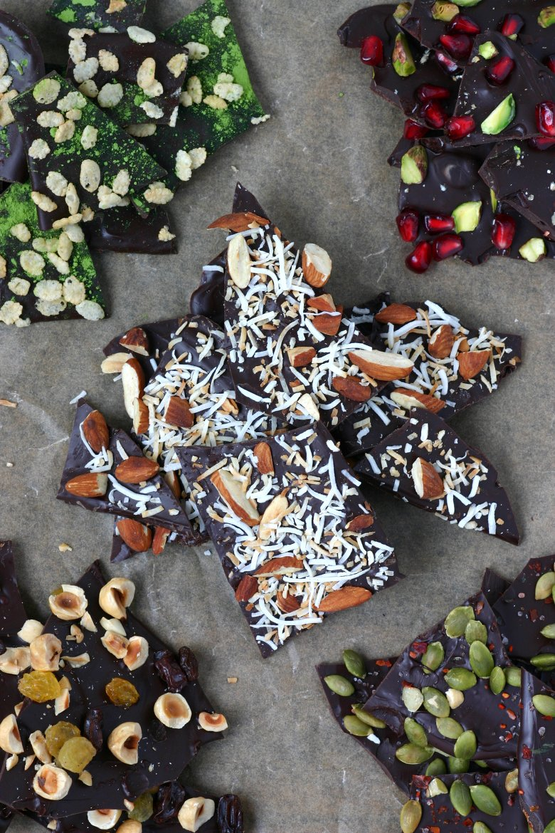 A recipe for Chocolate Bark that can be made quickly with minimal ingredients. Nuts, seeds, fruits, spices, herbs, and teas are all great toppings.