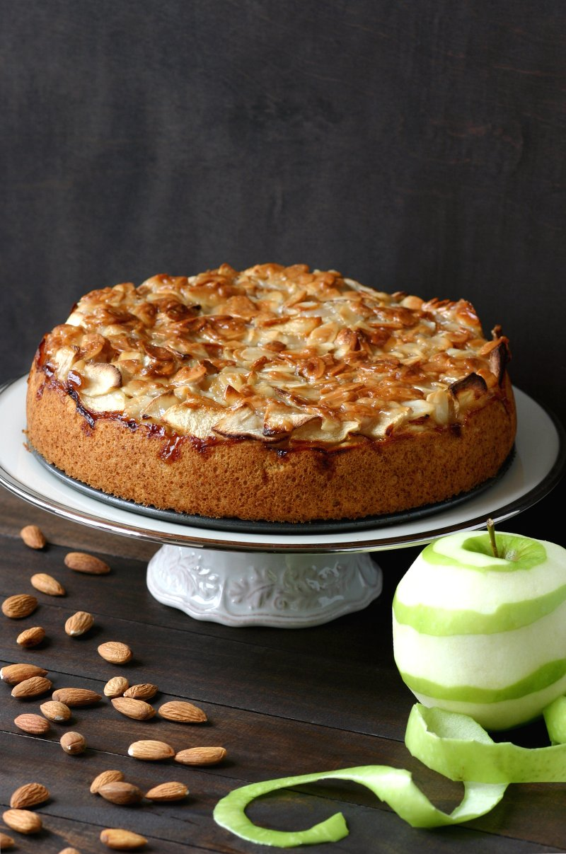 A vegan version of the classic German Apple Cake, featuring a layer of moist cake topped with tart apples and smothered with sweet, toasted almonds.