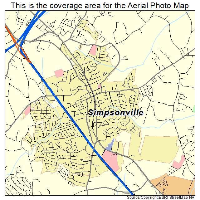 Sc Simpsonville Street Map