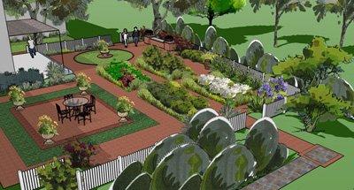 3D Landscape Design Pictures on Sketchup Backyard id=63084