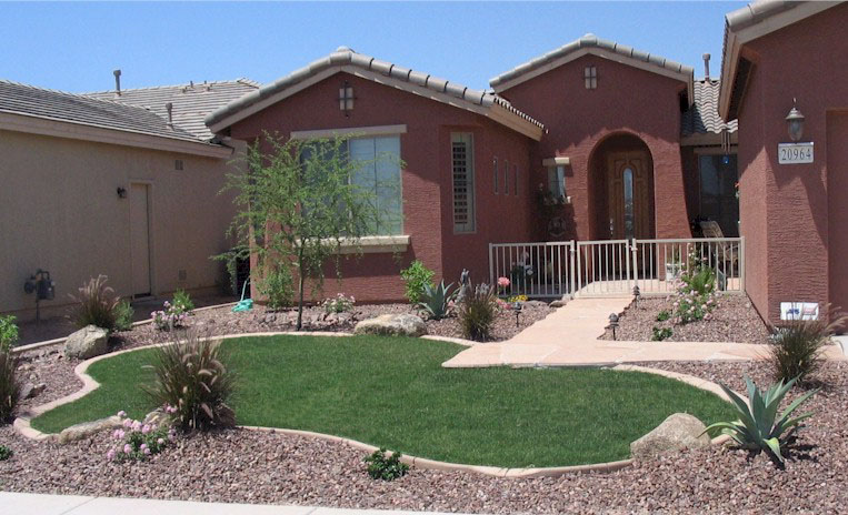 Arizona Tropical landscape design with sod, palm trees ... on Tropical Landscaping Ideas For Small Yards id=66622