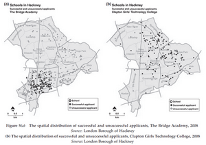 Map of successful and unsuccessful applicants to two schools in Hackney