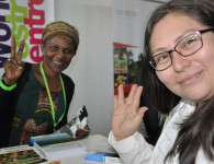 Blog writer Daisy Ouya and guest at the ICRAF booth at GLF. Photo: ICRAF