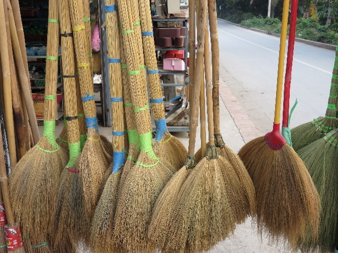 Brooms for sale in Luang Prabang