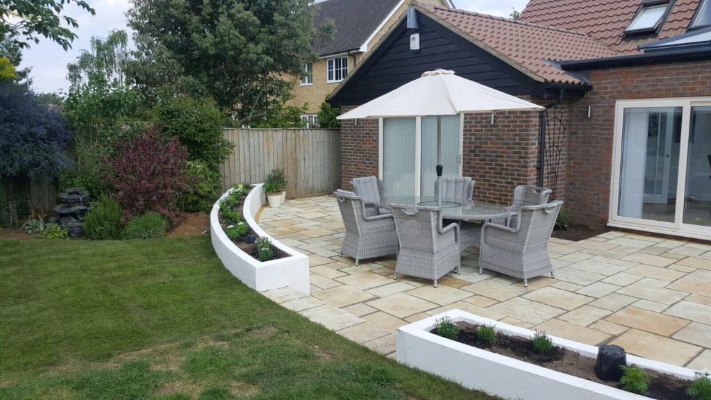 sandstone patio raised beds