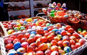 Marbled, dyed, and painted Easter eggs for sale in the market