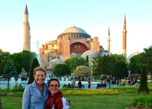 Tammy and Gretchen in front of the Hagia Sophia