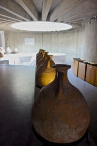 Well-curated entrance to the museum with Roman amphorae
