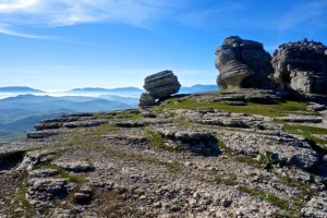 Viewing the Rif Mountains of Morocco in Africa from El Torcal in Spain