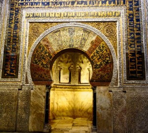 Grand golden mirhab in the Mezquita