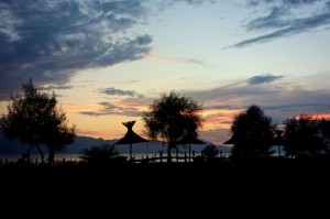 Sunset at Lake Shkoder Resort