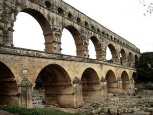 The Pont du Gard from the South Bank