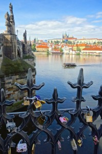 Locks of love looking across the Charles Bridge