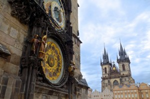 Astronomical clock with Church of Our Lady in background