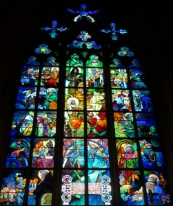 Alfons Mucha stained glass window in Saint Vitus Cathedral
