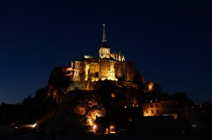 Magical Mont lit up at night