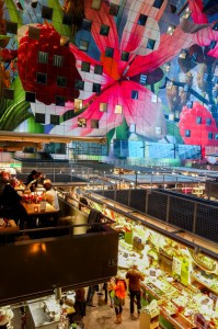 Interior mural and market in the Markthal