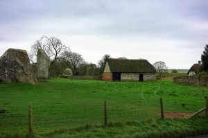 Avebury cottage with a few of the hundreds of megalithic stones