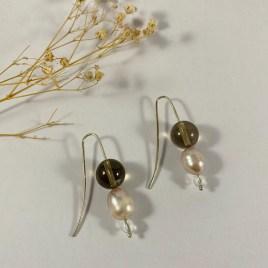 quartz perle culture quartz fumé boucle d'oreille argent