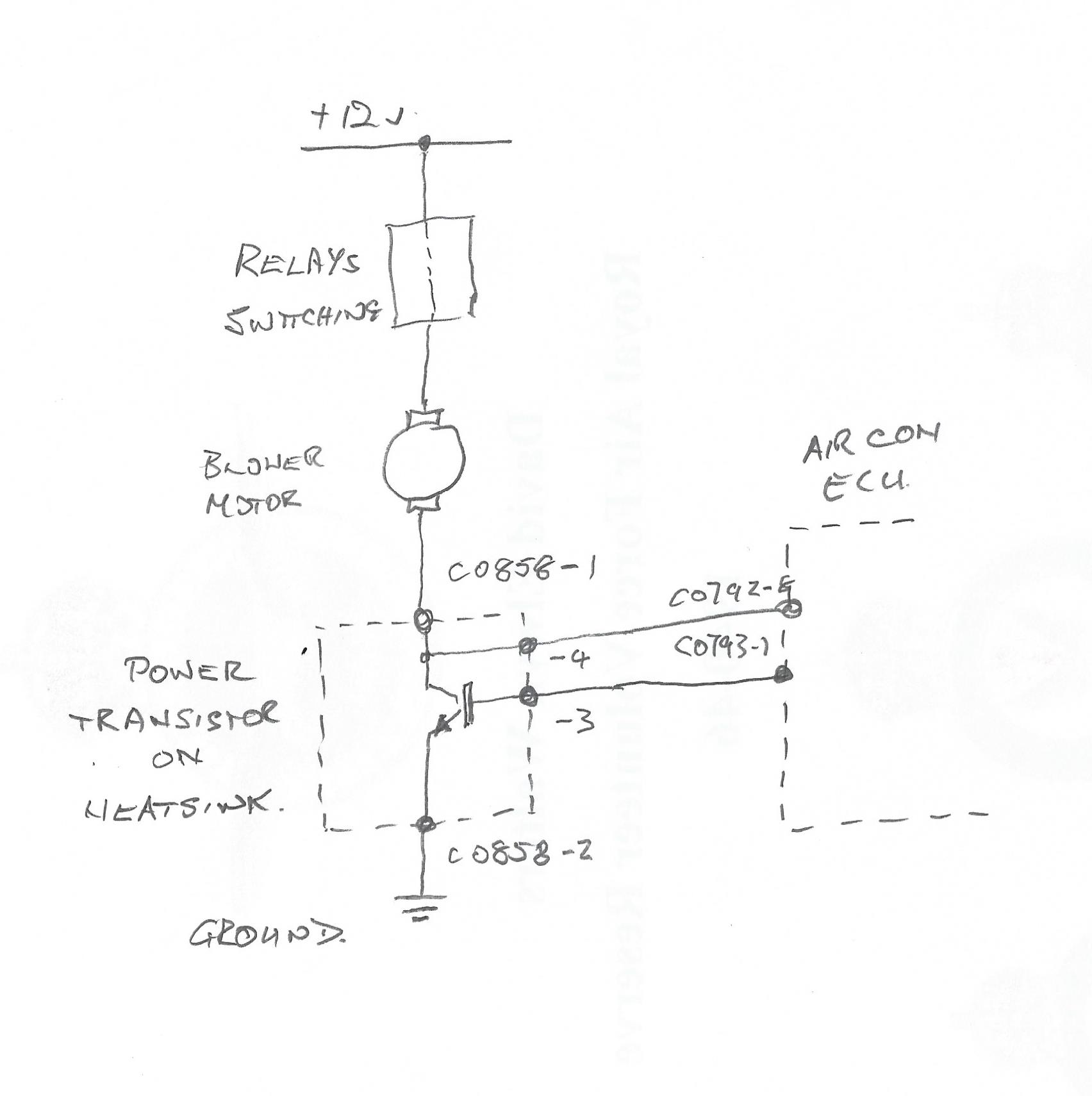 The power transistor is an npn type and can be thought of in this case as a remotely controlled variable resistor in series with the blower motor and