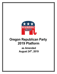Oregon Republican Party Platform 2019