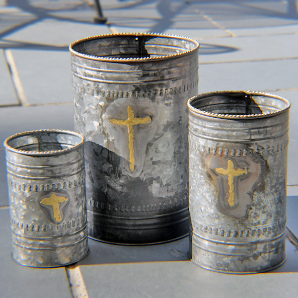 Cross Metal Planters