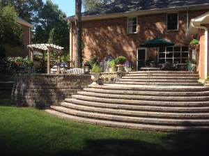 Stone Paver Stairs and retaining wall