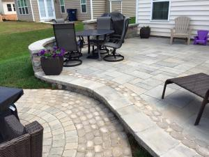 Fort Mill Back Patio with pavers and stone
