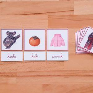 2ème série d'écriture-lecture ; dictées muettes Montessori; lecture du mot Montessori; apprendre à lire et à écrire en pédagogie Montessori; série roseMontessori ; mots à lire ; mots à écrire