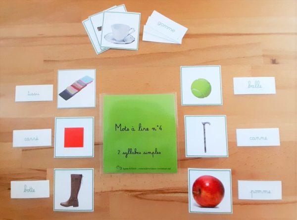 1ère série d'écriture-lecture ; dictées muettes Montessori; lecture du mot Montessori; apprendre à lire et à écrire en pédagogie Montessori; série verteMontessori ; mots à lire ; mots à écrire