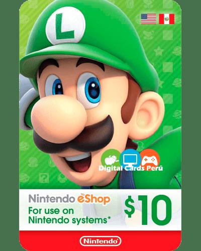 Tarjeta Nintendo eShop 10 Dolares