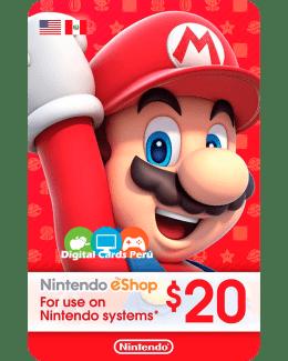 Tarjeta Nintendo eShop 20 Dolares