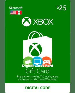 Tarjeta Xbox Live 25 dolares para cuenta americana