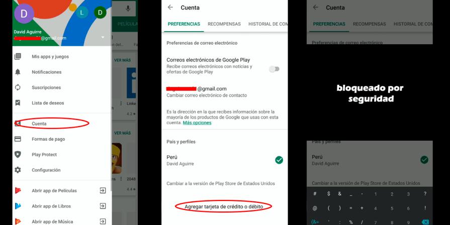 Pasos para cambiar el país de cuenta Google Play
