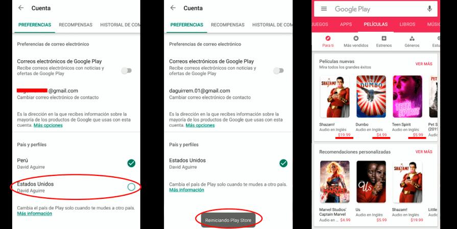 Pasos para cambiar el país Google Play