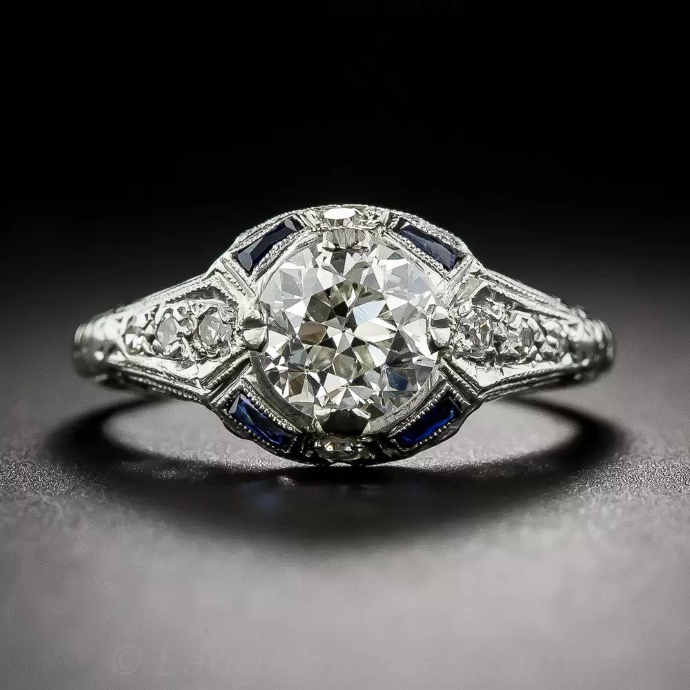 131 Carat European Cut Diamond And Sapphire Art Deco
