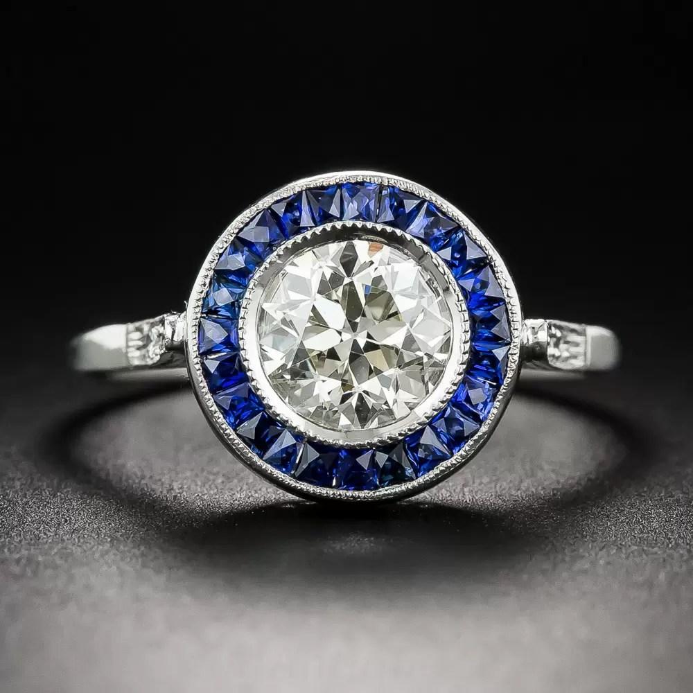 1 45 Carat European Cut Diamond And Sapphire Halo Ring