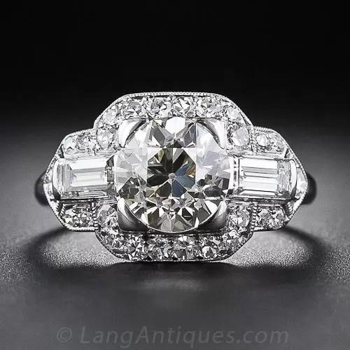 185 Carat Art Deco Diamond Engagement Ring