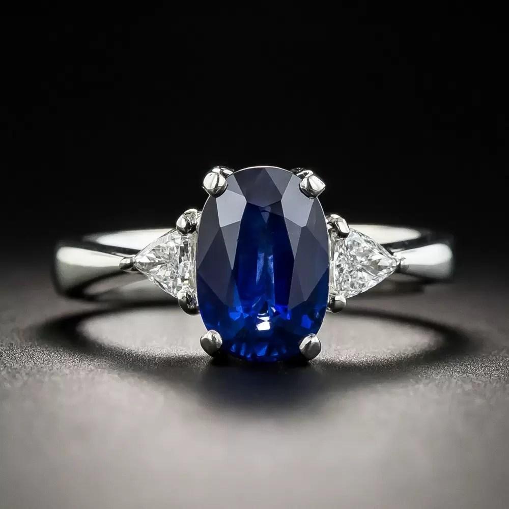 203 Carat Oval Sapphire Platinum Diamond Ring