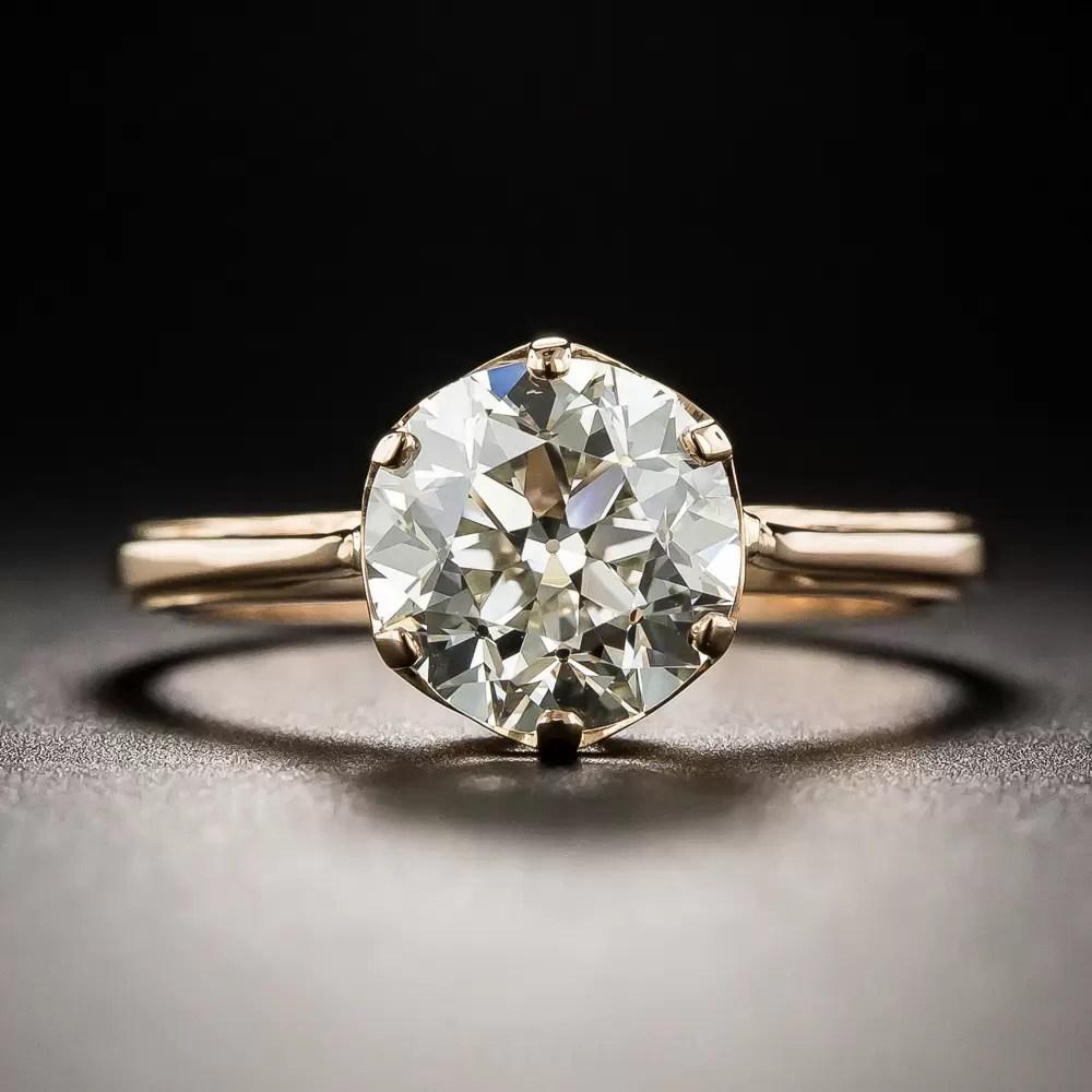 205 Carat Old European Cut Diamond Solitaire In 18K Rose Gold
