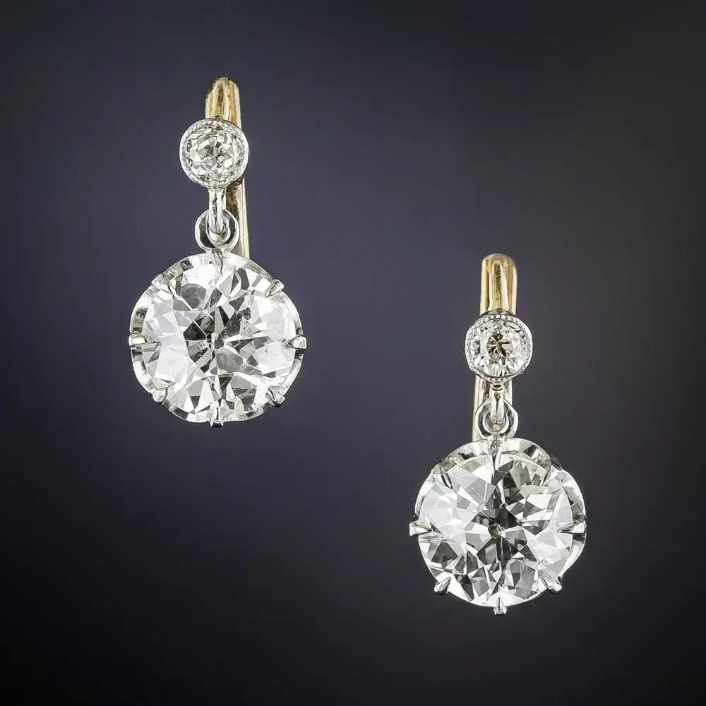 240 Carats Vintage Diamond Drop Earrings