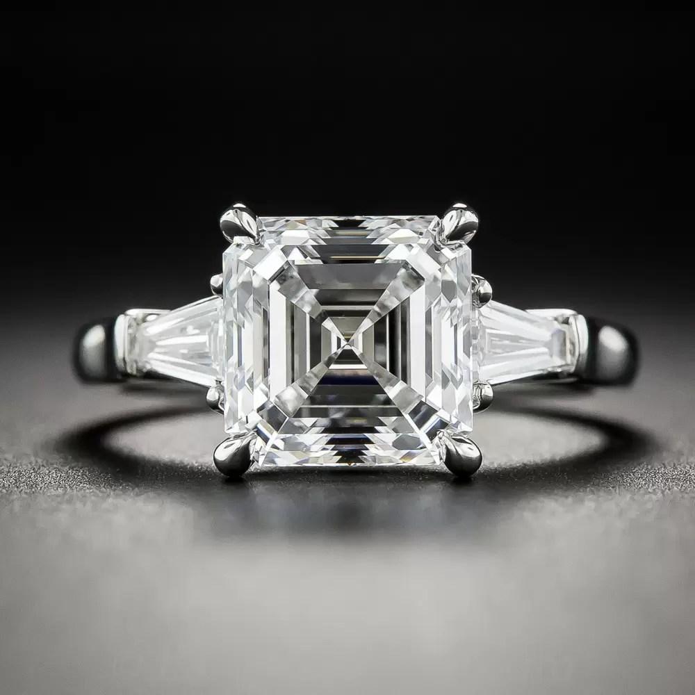 301 Carat Square Emerald Cut Diamond Ring GIA EVS2