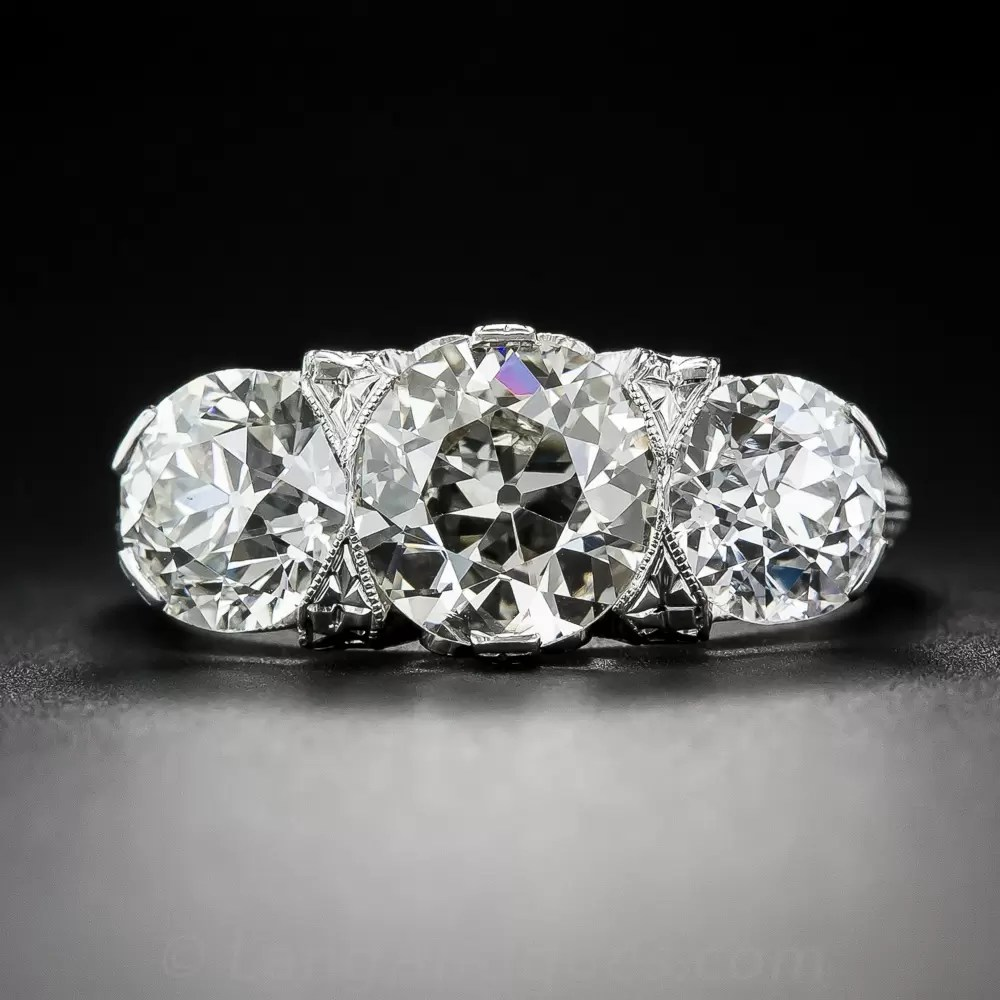 465 Carat Total Edwardian Three Stone Diamond Ring