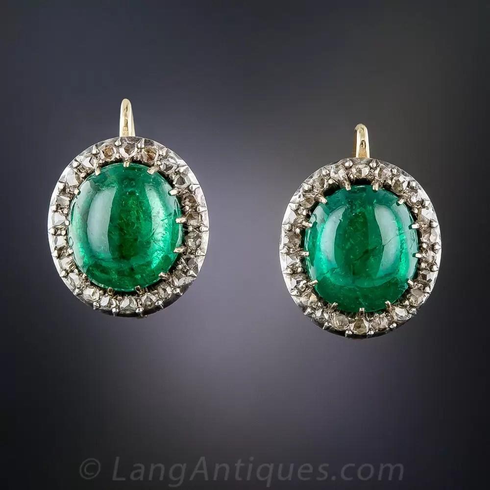 800 Carat Emerald Cabochon And Rose Cut Diamond Antique