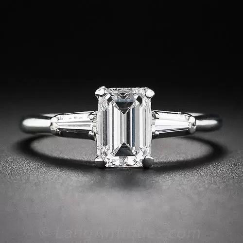 99 Carat E VVS1 Emerald Cut Diamond Estate Engagement Ring