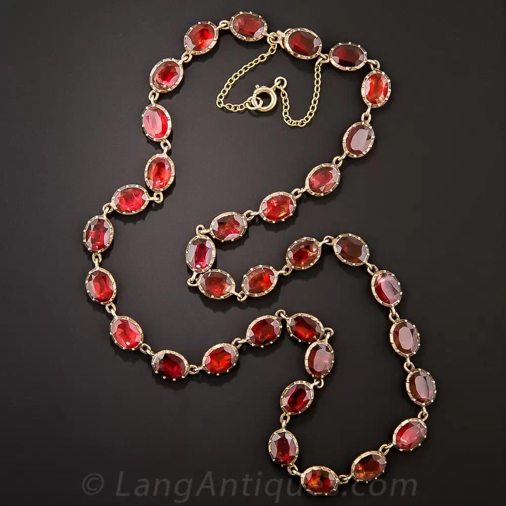 Antique Garnet Rivire Necklace